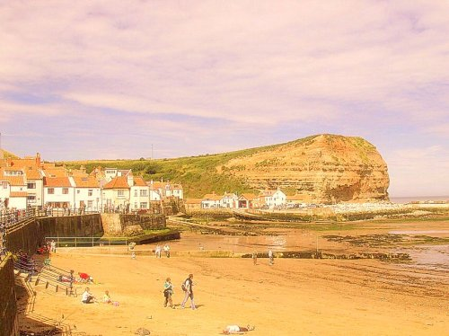 Cottages in Staithes beach